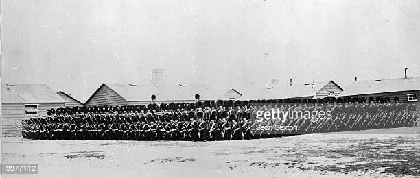 Parade of the 9th Battalion Grenadier Guards at the Curragh military camp in County Kildare