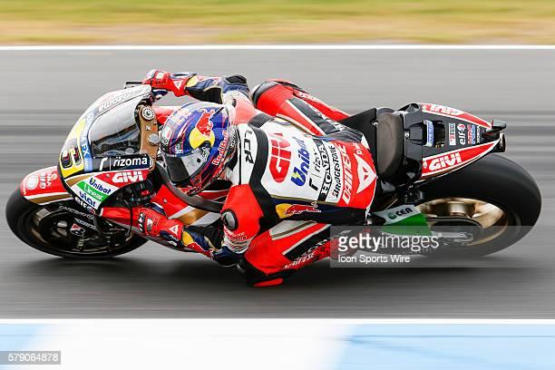 Stefan Bradl riding for LCR Honda MotoGP during free practice for the 2014 MotoGP of Australia at Phillip Island Grand Prix Circuit on October 19...