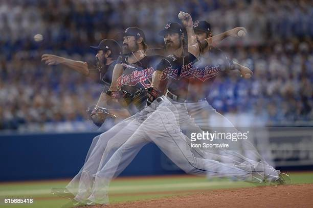 In this multiple exposure image Andrew Miller of the Cleveland Indians pitches during the sixth inning of 2016 MLB ALCS Game 5 between the Toronto...