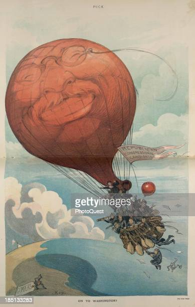 October 1910 A large hot air balloon with Theodore Roosevelt's face flying a banner that states Republican Congressional Candidates and carrying a...