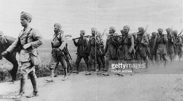 Indian infantrymen on the march in France during World War I