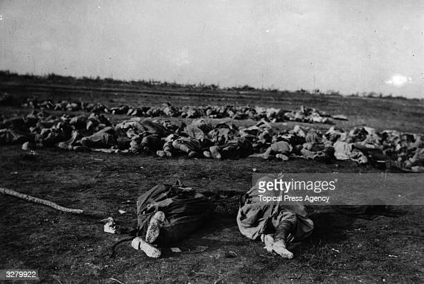 Dead French soldiers waiting to be buried