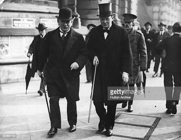 Lloyd George Minister of Munitions and Winston Churchill First Lord of the Admiralty walking down Whitehall