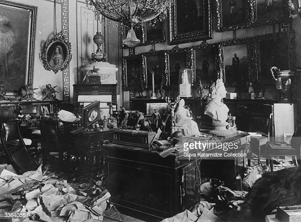A ransacked room in the Tsar's Winter Palace Petrograd after suffering damage at the hands of Bolshevik troops in the Russian Revolution The whole...