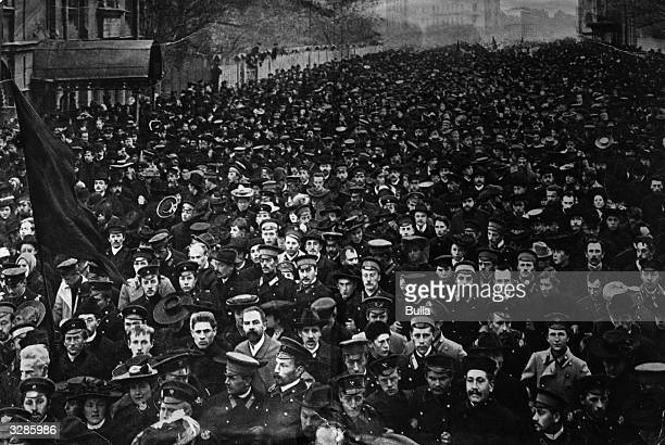 A student demonstration in Petrograd during the Russian Revolution