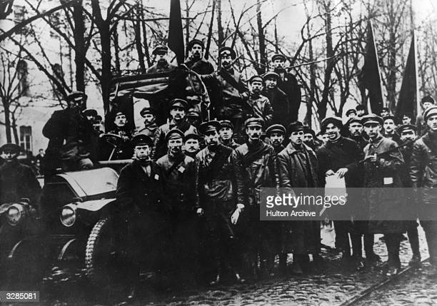 Members of the Red Army during the October phase of the Russian Revolution.