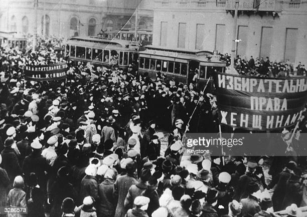 Women marching during the Russian Revolution demanding the right to vote