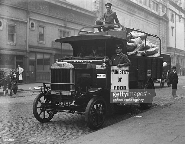 A Ministry of Food lorry loaded with beef at Smithfield market London during the railway strike