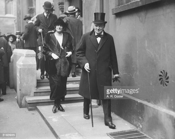 English politician and future Prime Minister Winston Churchill arrives at a tank inquiry at Lincoln's Inn, London.