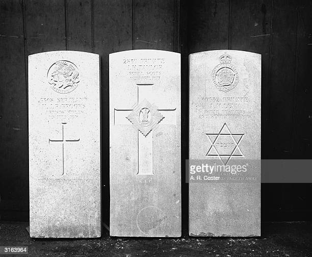 Three soldier's tombstones which are to be exhibited at the Royal Academy