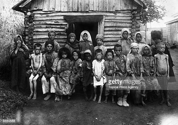 Faminestricken refugee children in Russia during the Russian Civil War