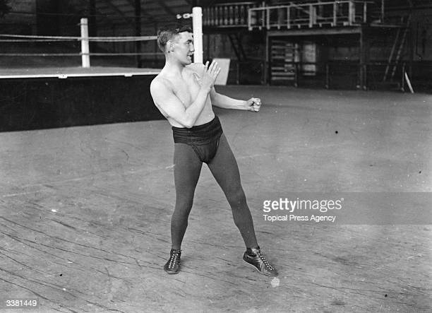 British and European bantamweight champion boxer Tom Harrison shadow boxing