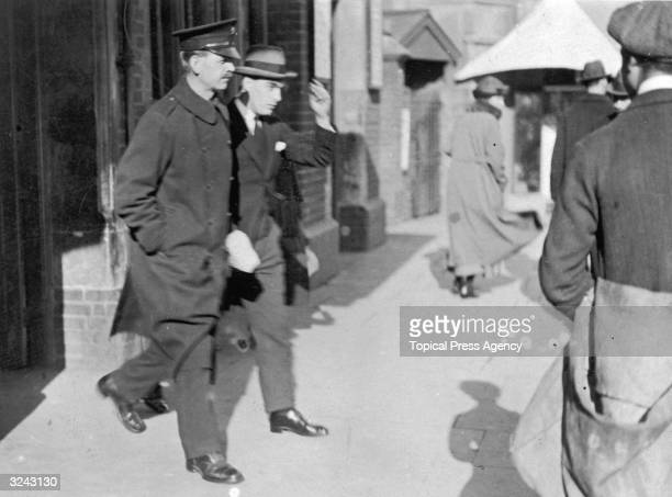 Frederick Bywaters at Ilford police station in Essex after his arrest for the murder of Percy Thompson. Bywaters and Thompsonfs wife, Edith had been...