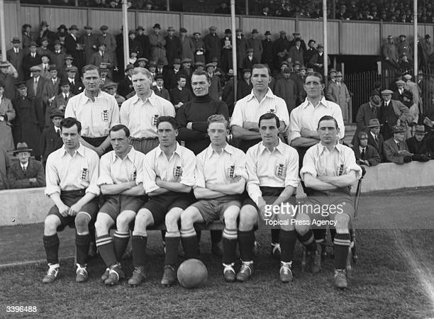 The England football team at West Bromwich Albion's ground The Hawthorns for their match against Ireland. They are Edward Taylor, Joe Smith, Jack...