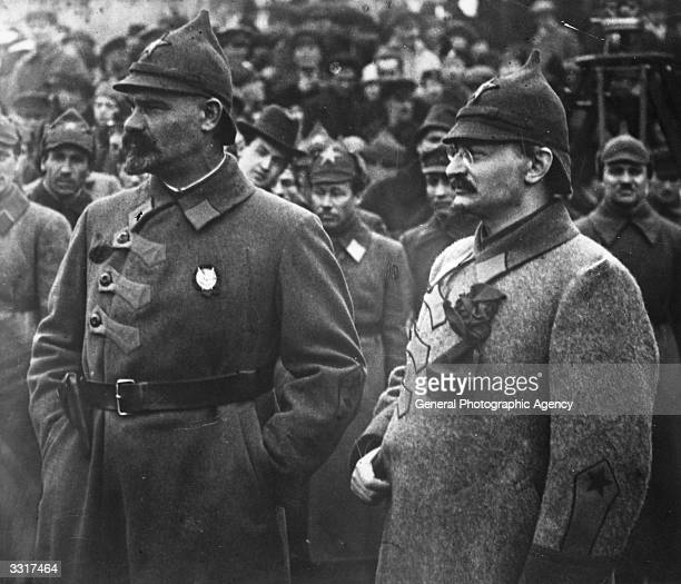 Russian Jewish revolutionary Leon Trotsky right with General Mouralov at a Red Army sports meeting in Russia