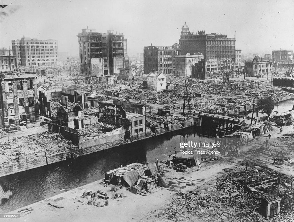 The ruins of Nihombashi, Tokyo, Japan, after the earthquake.