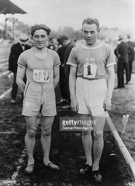 Track runners Joseph Guillemot and Paavo Nurmi the 1924 Paris 1500 metres Olympic Gold Medal winner