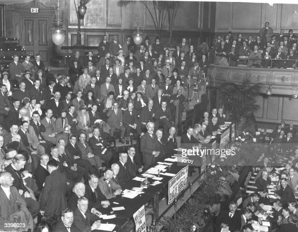 Britain's first Labour prime minister Ramsay MacDonald addressing the 1924 Party conference Left to right Joseph Clynes Arthur Henderson Cramp Ramsay...
