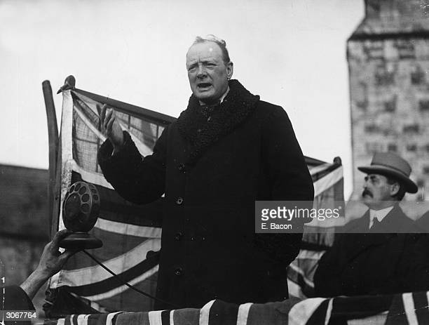British statesman Winston Leonard Spencer Churchill speaking at Westminster Abbey London during the General Election of 1924 after which he returned...