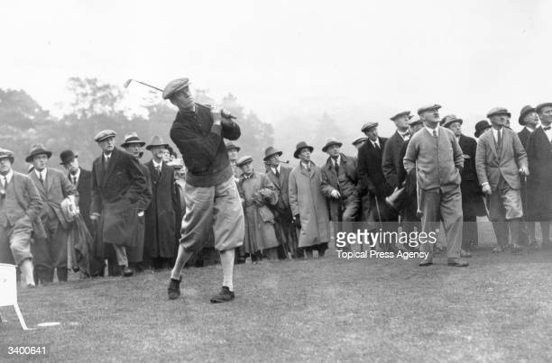 Internatioal Golf at the Mid Surrey Golf course Richmond George Duncan playing his shot John H Taylor won the British Open five times