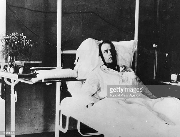 Lieutenant Commander Leon Stopford Acheson DSO recuperating in the Hospital of the Catholic Mission after British ships at Hankow and WanHsien were...