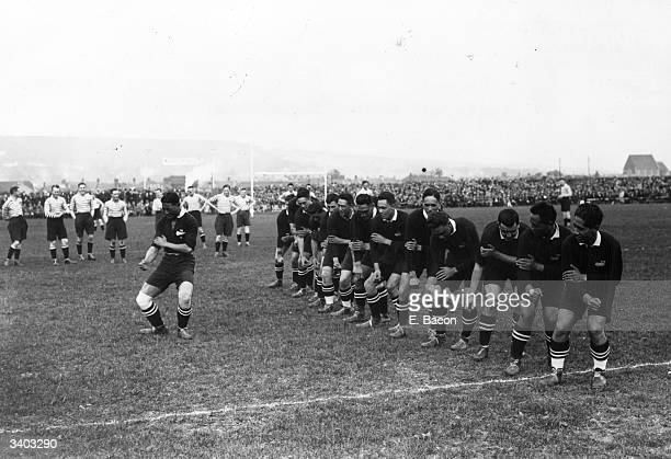 The New Zealand rugby team, the 'All Blacks', dancing the traditional 'Haka' war dance, before their first match against England, at Weston Super...