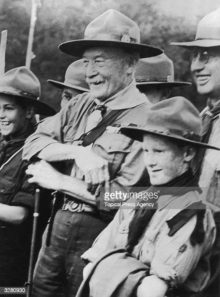 Sir Robert Baden Powell founder of the Boy Scout movement with his son Peter highly pleased with the welcome they received from the Scouts of Cape...