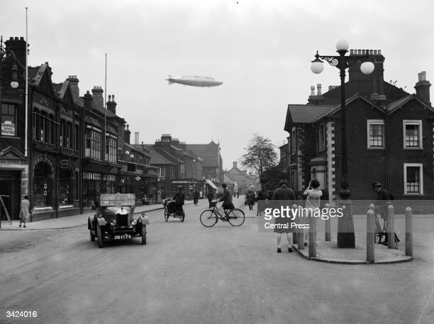 The airship R101 flying over the town of Bedford on its first flight