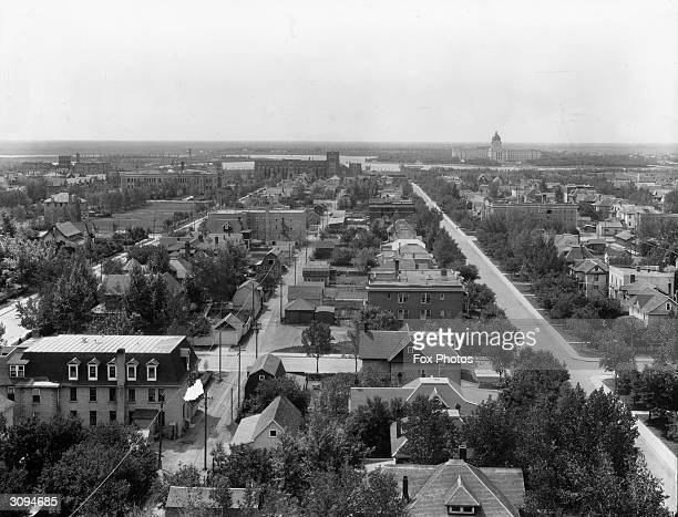 Looking over the town of Regina in Saskatchewan, Canada towards the parliament buildings on the horizon.