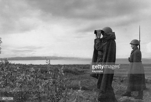 Russian soldiers on patrol at the coast of Petsamo, Finland.