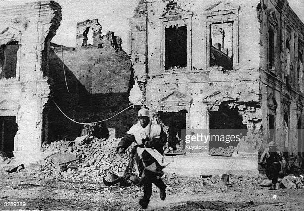 These destroyed houses have now become strategic points for the Nazis in Stalingrad During an attack they are advancing by running from house to...