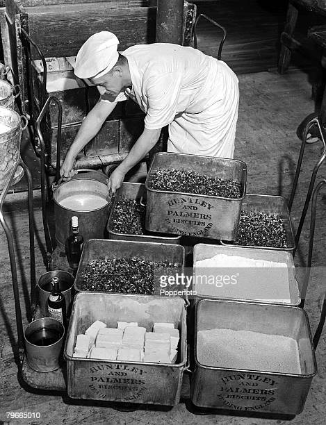 October 1947 Ingredients being prepared for Princess Elizabeth's wedding cake at a Berkshire confectionery factory