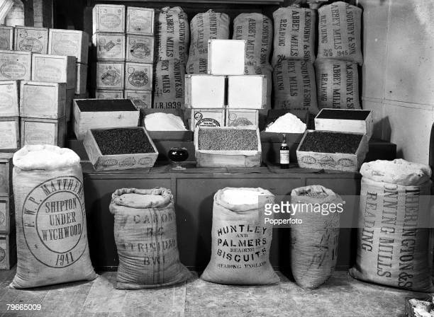 October 1947 Pictured in Berkshire the ingredients for Princess Elizabeth's wedding cake British four and granulated sugar demerara sugar from...