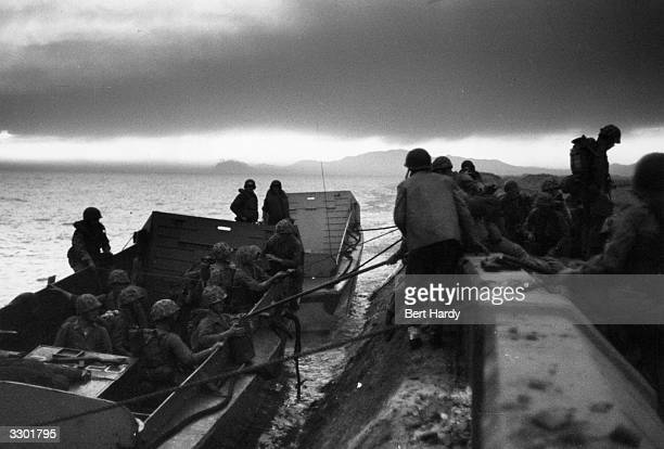 US marines landing at Inchon in South Korea during the first significant counterstrike of the Korean War Original Publication Picture Post 5086...