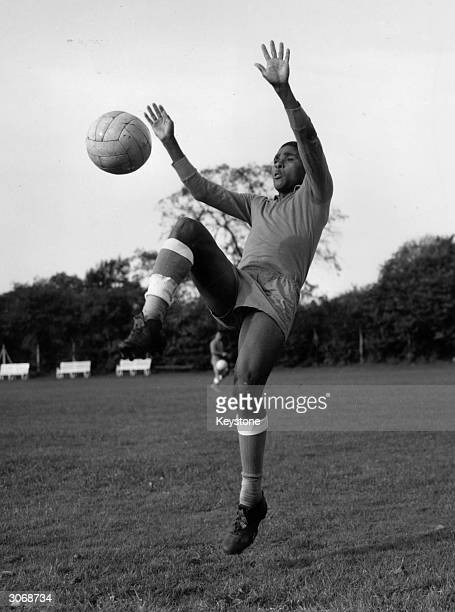 Portuguese footballer Eusebio in training for an upcoming match against England at Wembley