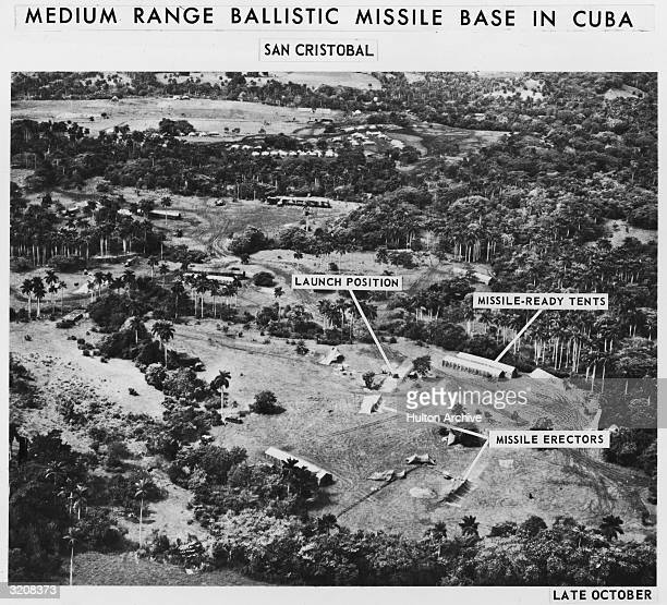 Aerial spy photos of a medium range ballistic missile base with labels detailing various parts of the base during the Cuban Missile Crisis San...
