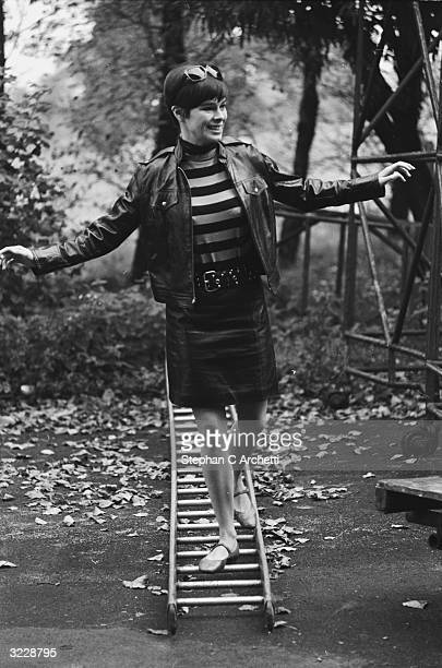 Americanborn actress Geraldine Chaplin exploring the grounds of Elstree Studios during a break from the filming of the MGM film 'Stranger in the...