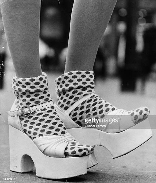 Pair of platform shoes by Dorothee Bis, worn with fifties-style socks.