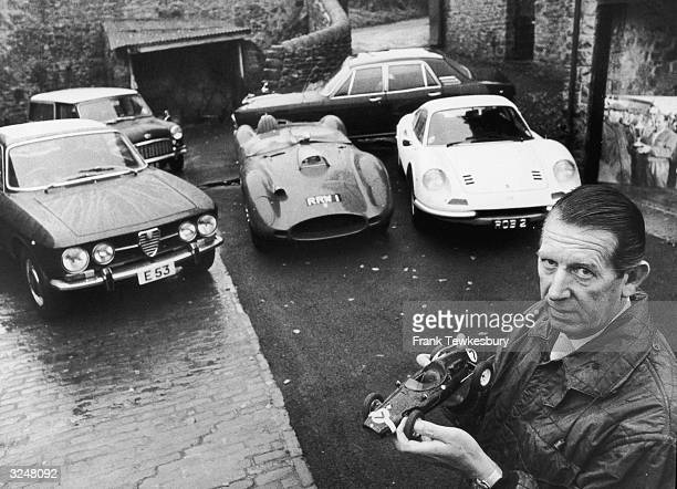 Formula One team owner Rob Walker at home in Nunney Somerset with a model formula one car and some of his of real motorcars From top left Mini...
