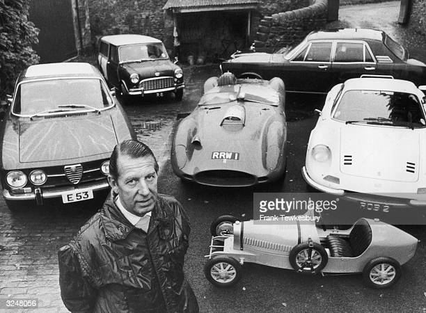 Formula One team owner Rob Walker at home in Nunney Somerset with part of his motorcar collection From top left Mini Ford Alpha Romeo Ferrari Ferrari...