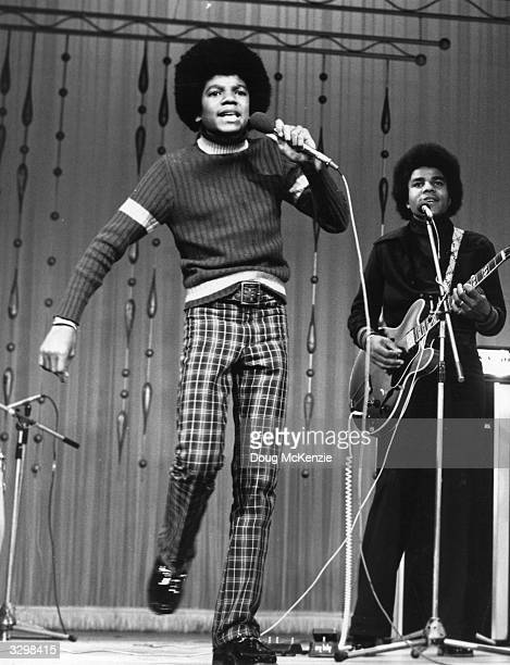 Young Michael Jackson performing at the London Palladium with his brothers in the Jackson Five