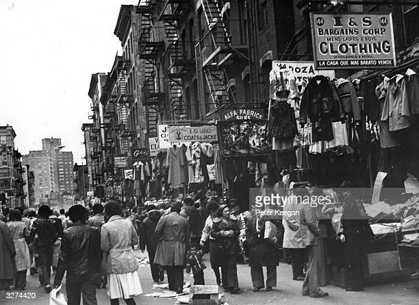 Typical clothing shops in a Jewish Quarter of New York