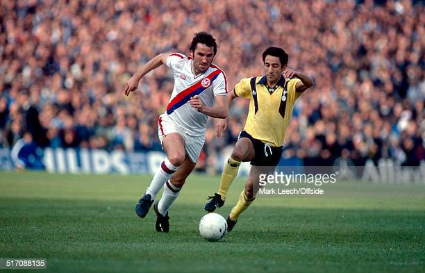 06 October 1979 Football League Division One Crystal Palace v Tottenham Hotspur Gerry Francis takes the ball past Osvaldo Ardiles of Tottenham