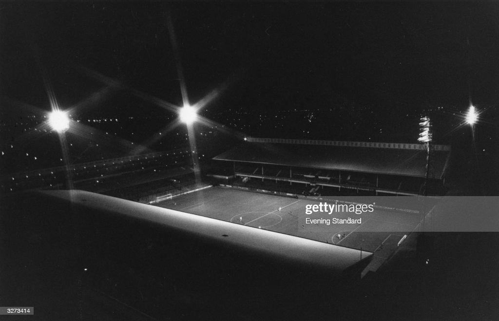 West Ham United's floodlit Upton Park football ground.