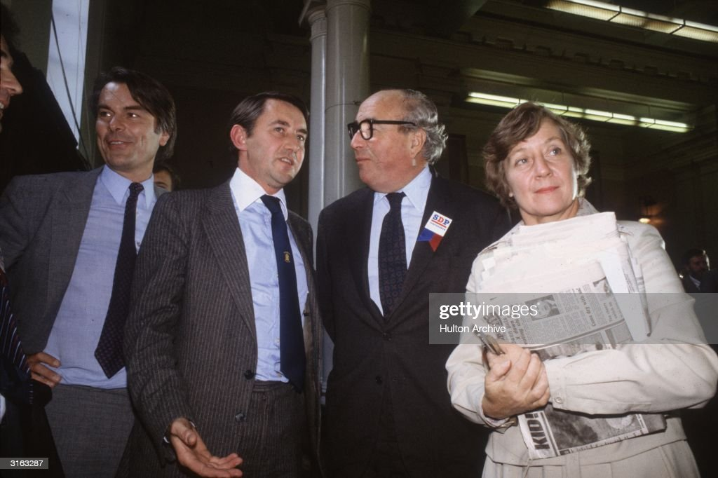 British Liberal Party leader David Steel discusses an alliance with Social Democratic Party leaders David Owen, Roy Jenkins (1920 - 2003) and Shirley Williams at the 1981 SDP Conference.