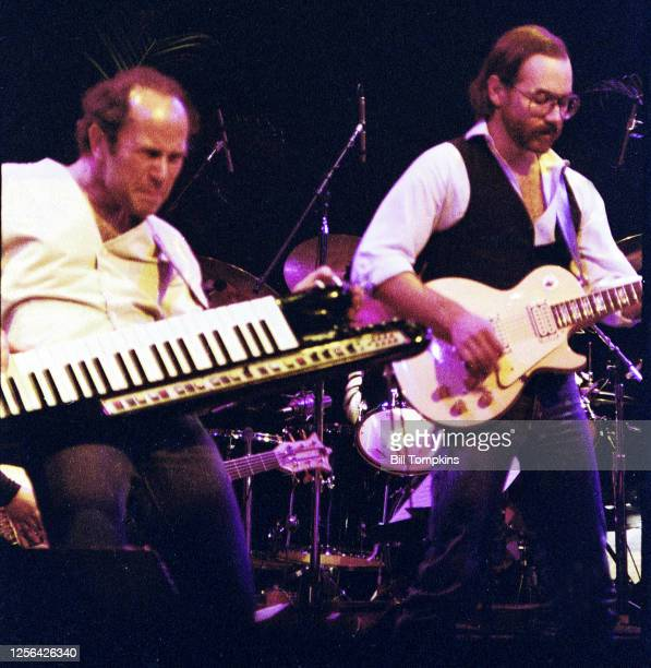 October 1982]: MANDATORY CREDIT Bill Tompkins/Getty Images Al Dimeola and Jan Hammer performing at the Savoy Theatre October 1982 in New York City.