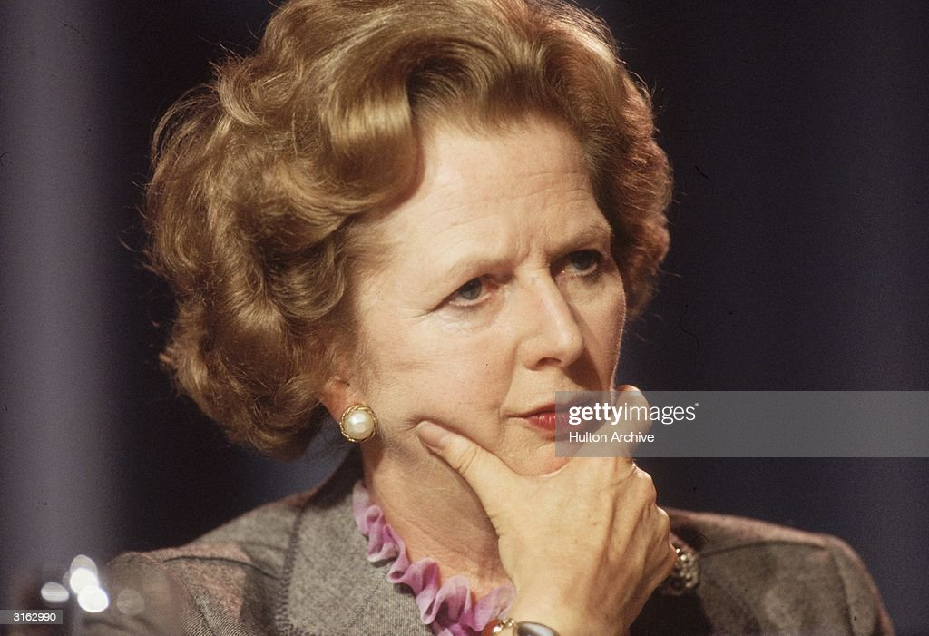 British prime minister Margaret Thatcher looking pensive at the Conservative Party Conference in Blackpool.