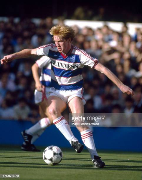 05 October 1985 Football League Division One Queens Park Rangers v Liverpool Gary Waddock of QPR in action against Liverpool