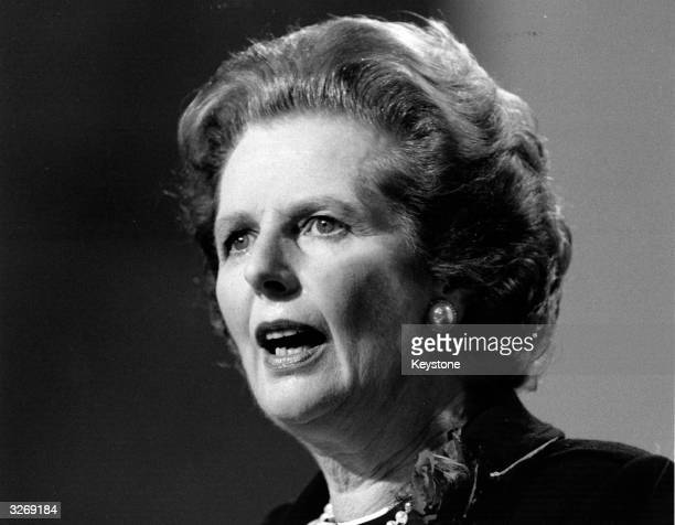 British Conservative Prime Minister Margaret Thatcher addresses the party conference