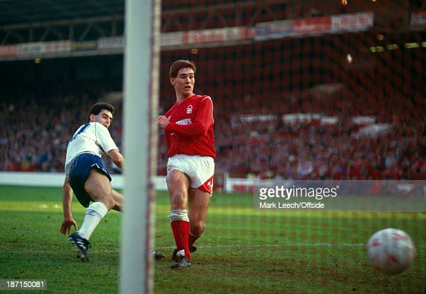 October 1987 Football League Division One - Nottingham Forest v Tottenham Hotspur, Nigel Clough scores the third goal for Forest in a 3-0 victory,...